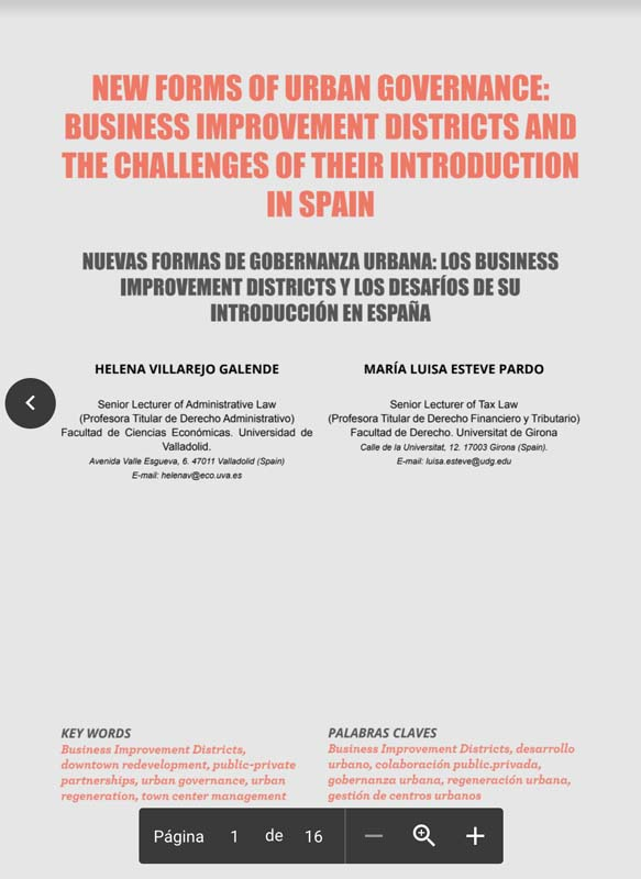 NEW FORMS OF URBAN GOVERNANCE: BUSINESS IMPROVEMENT DISTRICTS AND THE CHALLENGES OF THEIR INTRODUCTION IN SPAIN